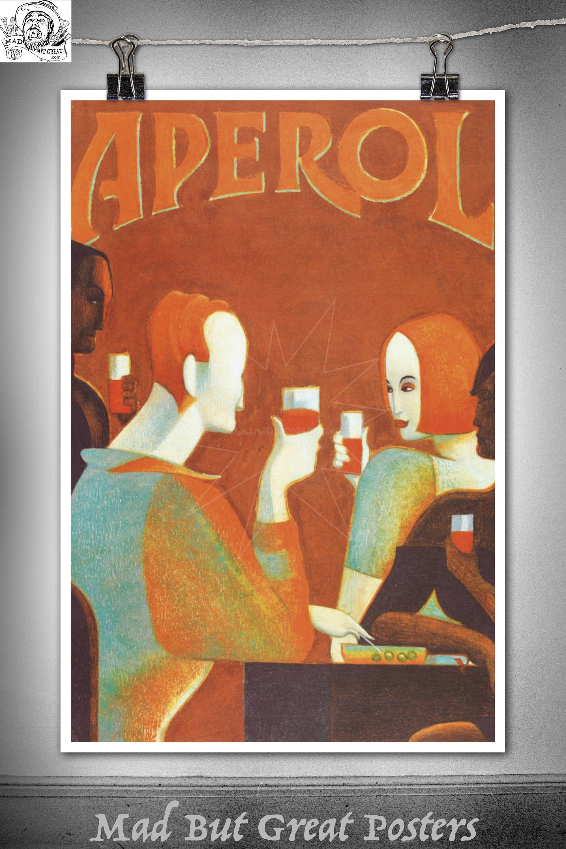 Aperol Liqueur Art Deco Lorenzo Mattotti poster vintage