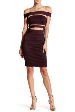 Cutout Stripe Bandage Dress