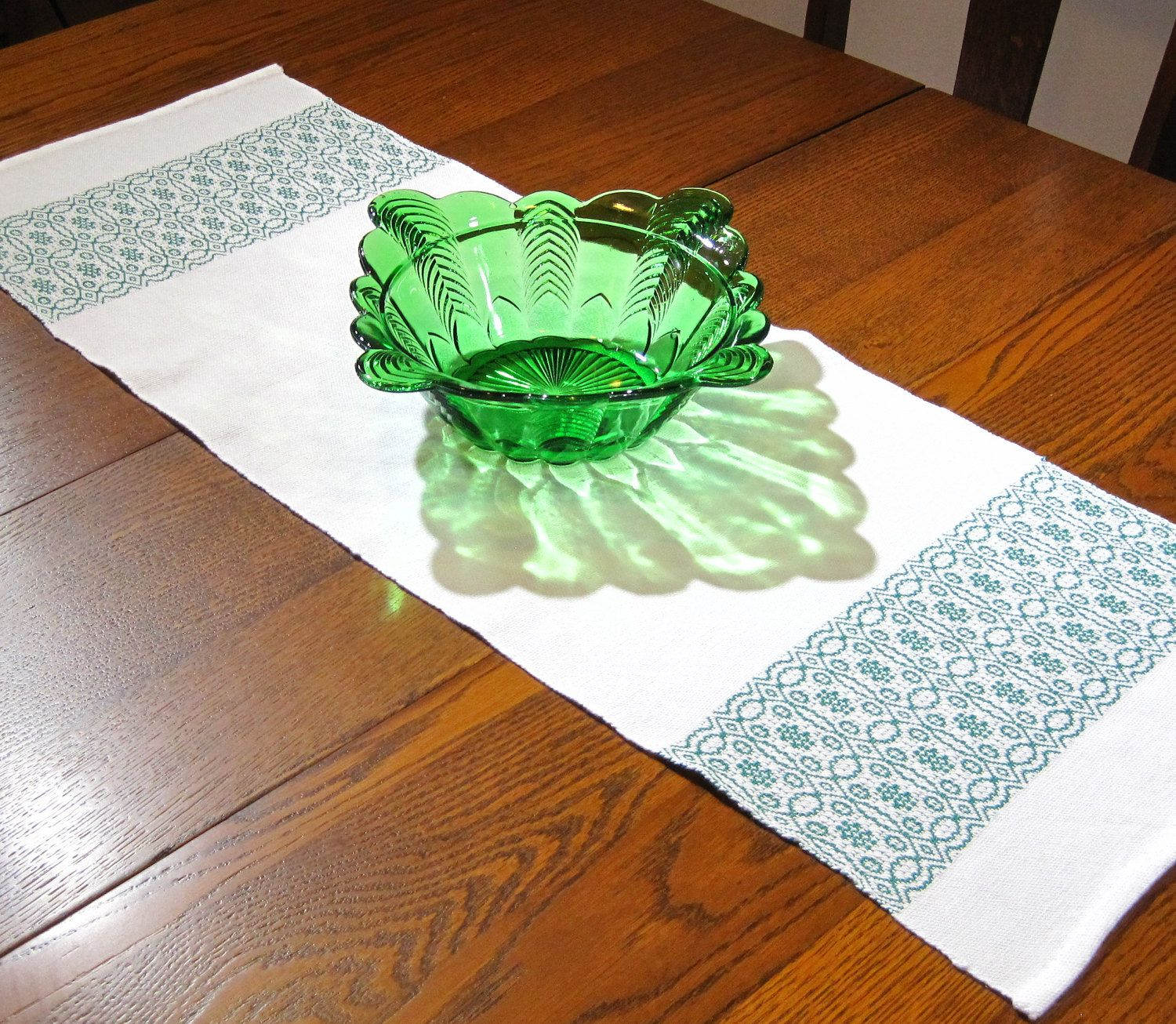 36 Handwoven Table Runner Hand Woven Coffee Table Runner Green And White Table Runner Whig Rose Table Runner 36 Inch Christmas Table Runner Hand Weaving Christmas Table Runner Stained Glass Night Lights