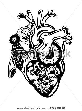 Heart Clock Mechanical Steampunk Heart Gear Tattoo Heart Drawing