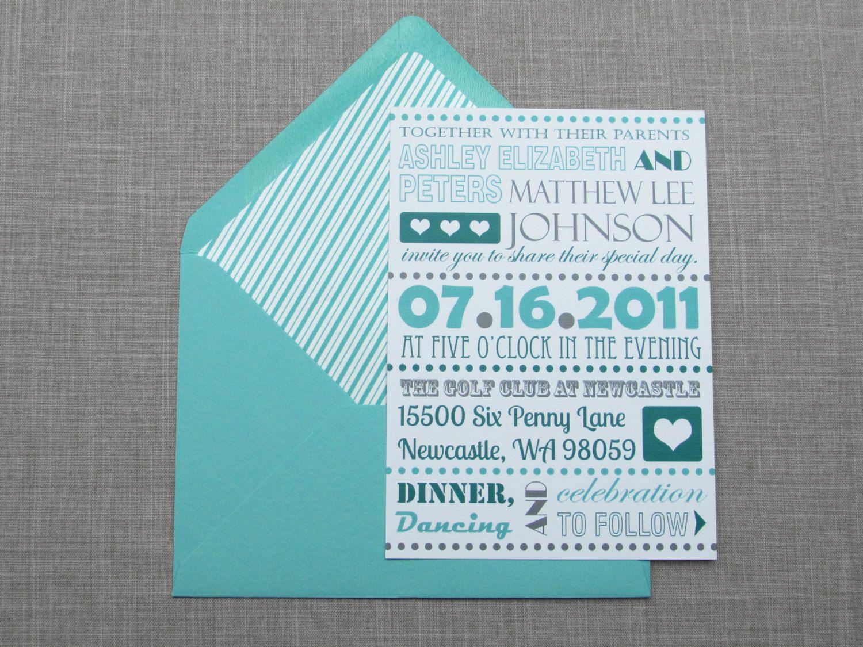 Fancy Typography Wedding Invitation Sample   Flat or Pocket Fold ...