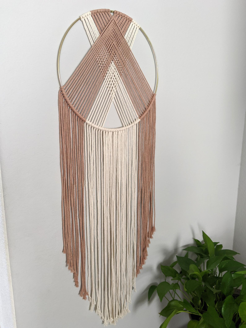 Macrame Wall Hanging Dream Catcher Using Two Colors Modern Etsy In 2020 Boho Wall Decor Yarn Wall Hanging Wall Hanging Diy