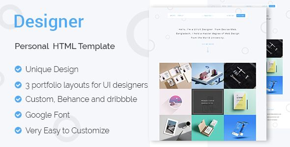 DESIGNER - UI \ UX Designers Portfolio HTML Template Ux designer - ui ux resume