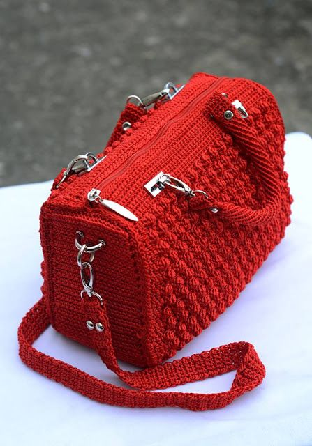 Bolsa Vermelha Em Croche Passo A Passo Bolsa Vermelha Bolsas De