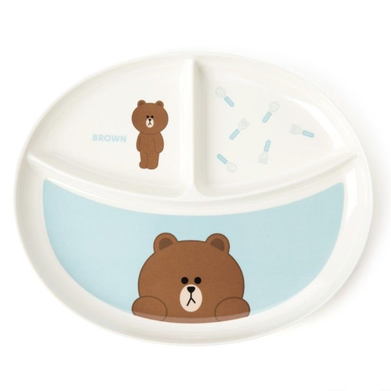 Line Friends Official Goods 1P Brown Melamine Divided Plate