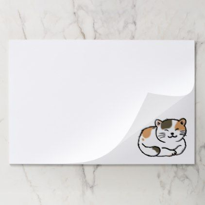 Cute Fluffy Calico Orange And Black Cat Paper Pad Fun Gifts