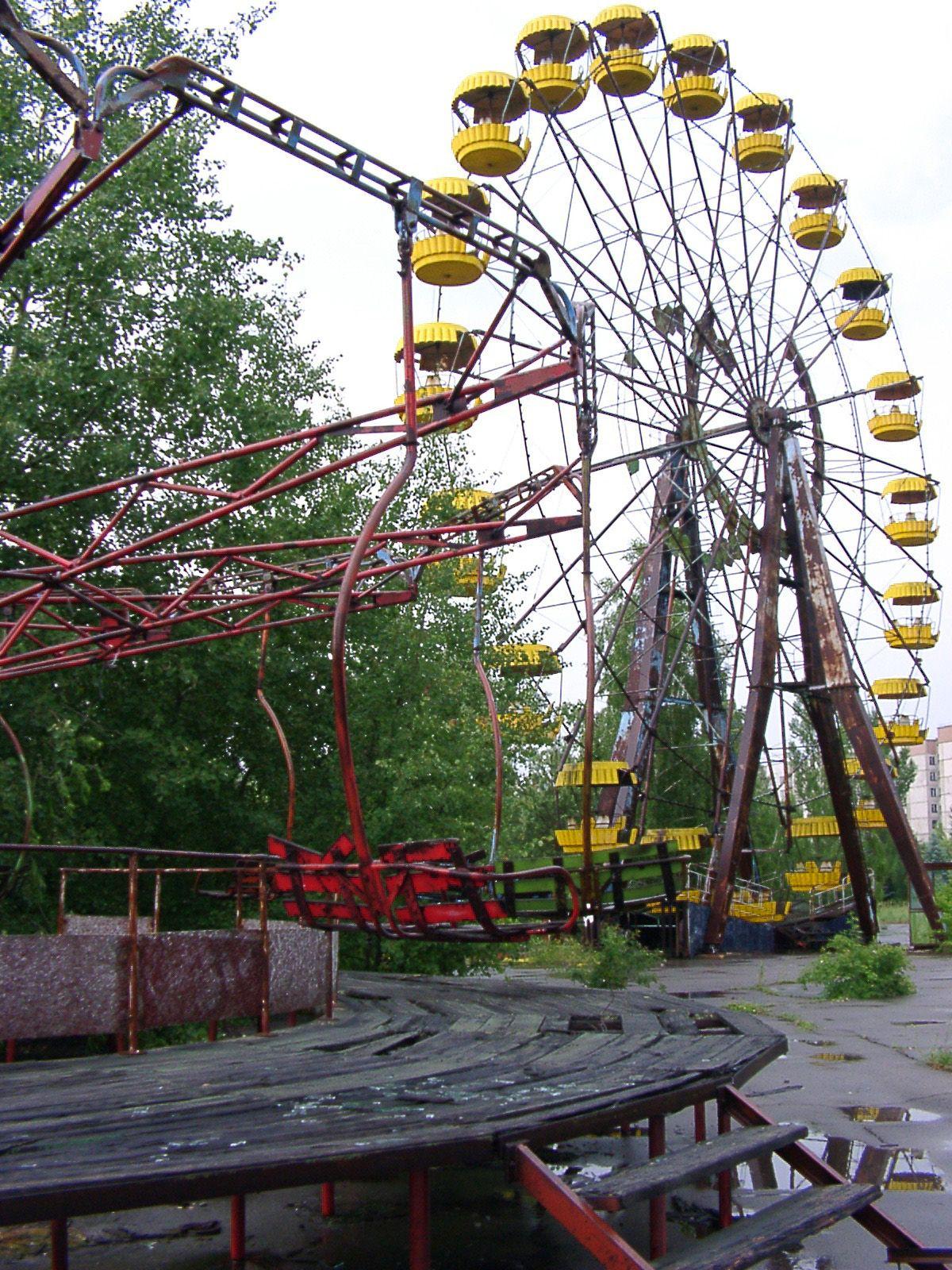 ferris wheel in former Soviet Union town Pripyat, a city