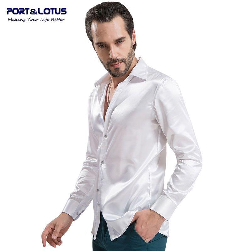 Port&Lotus Men Shirts Casual Long Sleeve Pure Color Artificial Silk Slim Fit  089QS Men Clothing Chemise