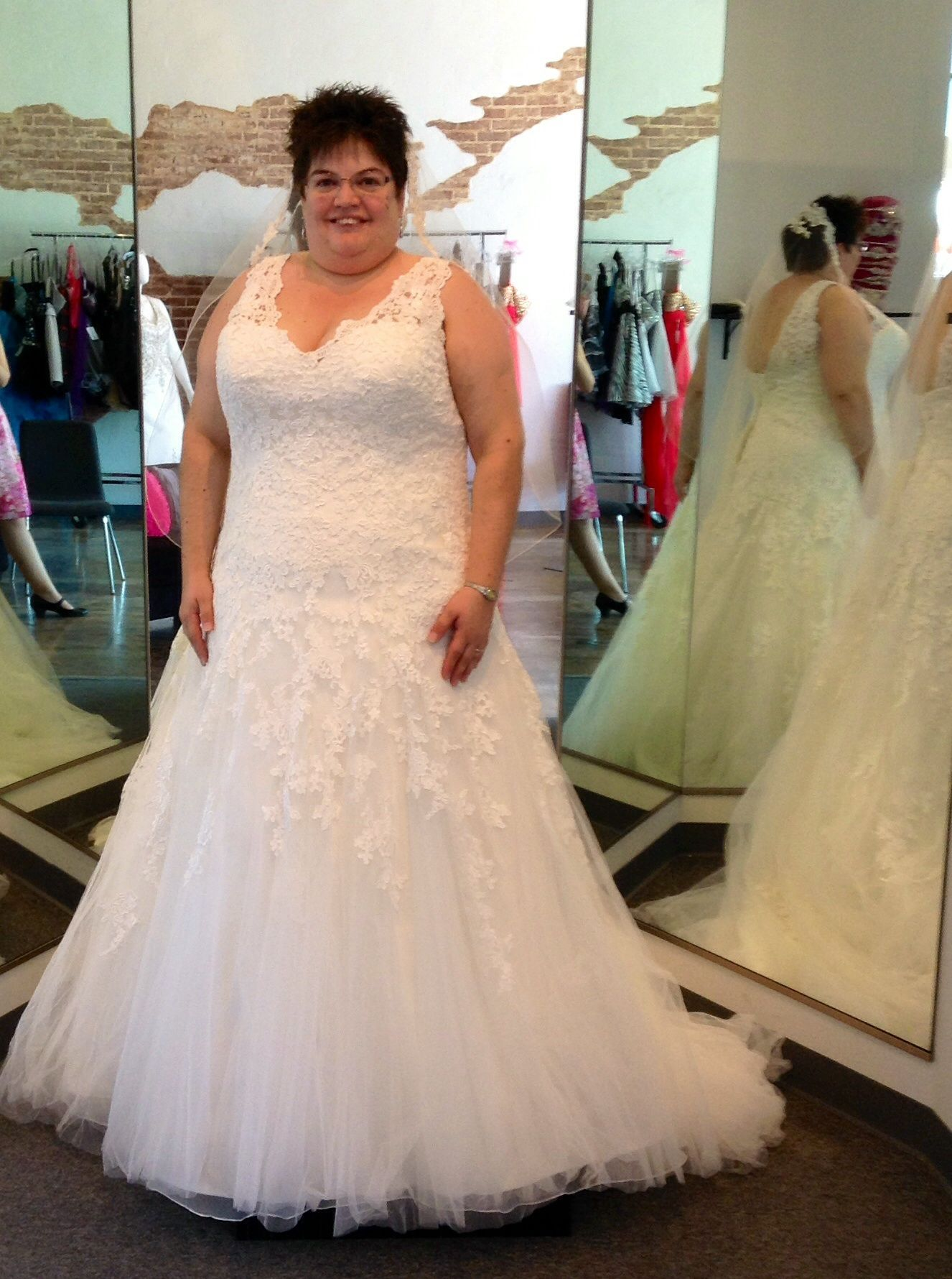 This ultra feminine lacy plus size wedding dress just arrived in ...