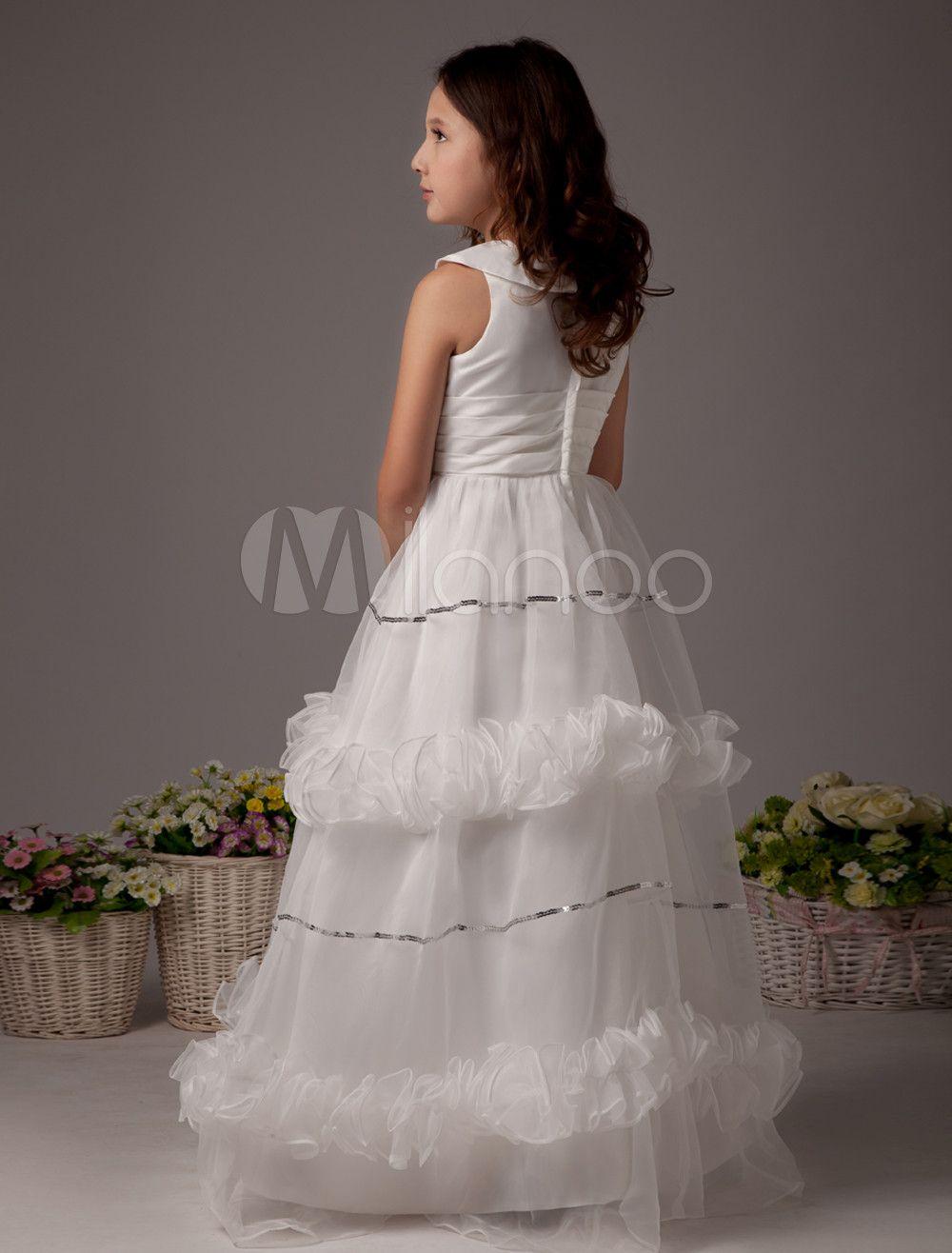 7b10dfd0334 White Flower Girl Dress Boho Satin Sleeveless Long Dresses For Little Girls   Dress