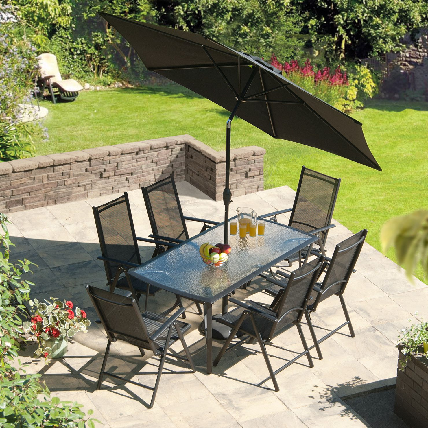 SunTime Capri 6 Seater Aluminium Rectangular Dining Set  Black  Garden  FurnitureOutdoor. SunTime Capri 6 Seater Aluminium Rectangular Dining Set  Black