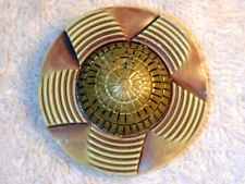 Antique Vintage Celluloid Button LARGE Metal Accent Carved Molded  Buffed