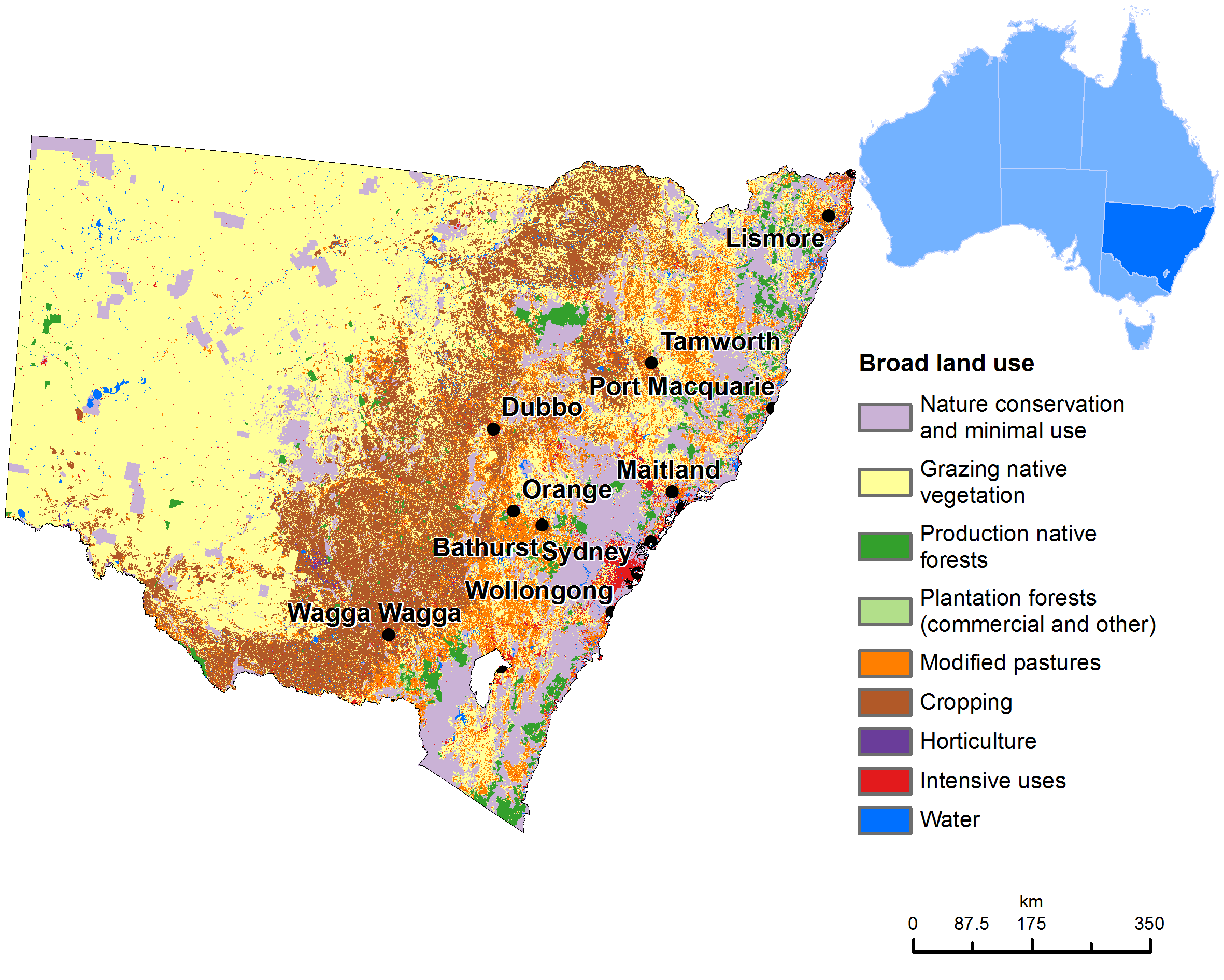 Australia Map Vegetation.Land Use Map Of New South Wales Geo2 Australia Map Map Land Use