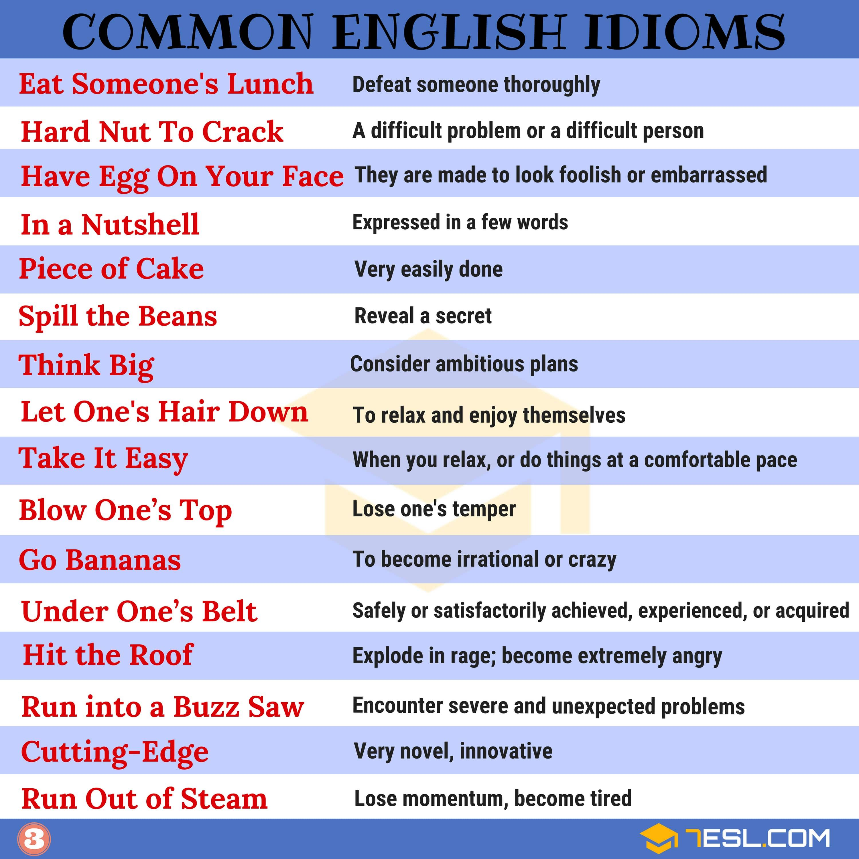 2000 Common English Idioms And Their Meanings 7 E S L English Idioms Idioms Idioms And Phrases