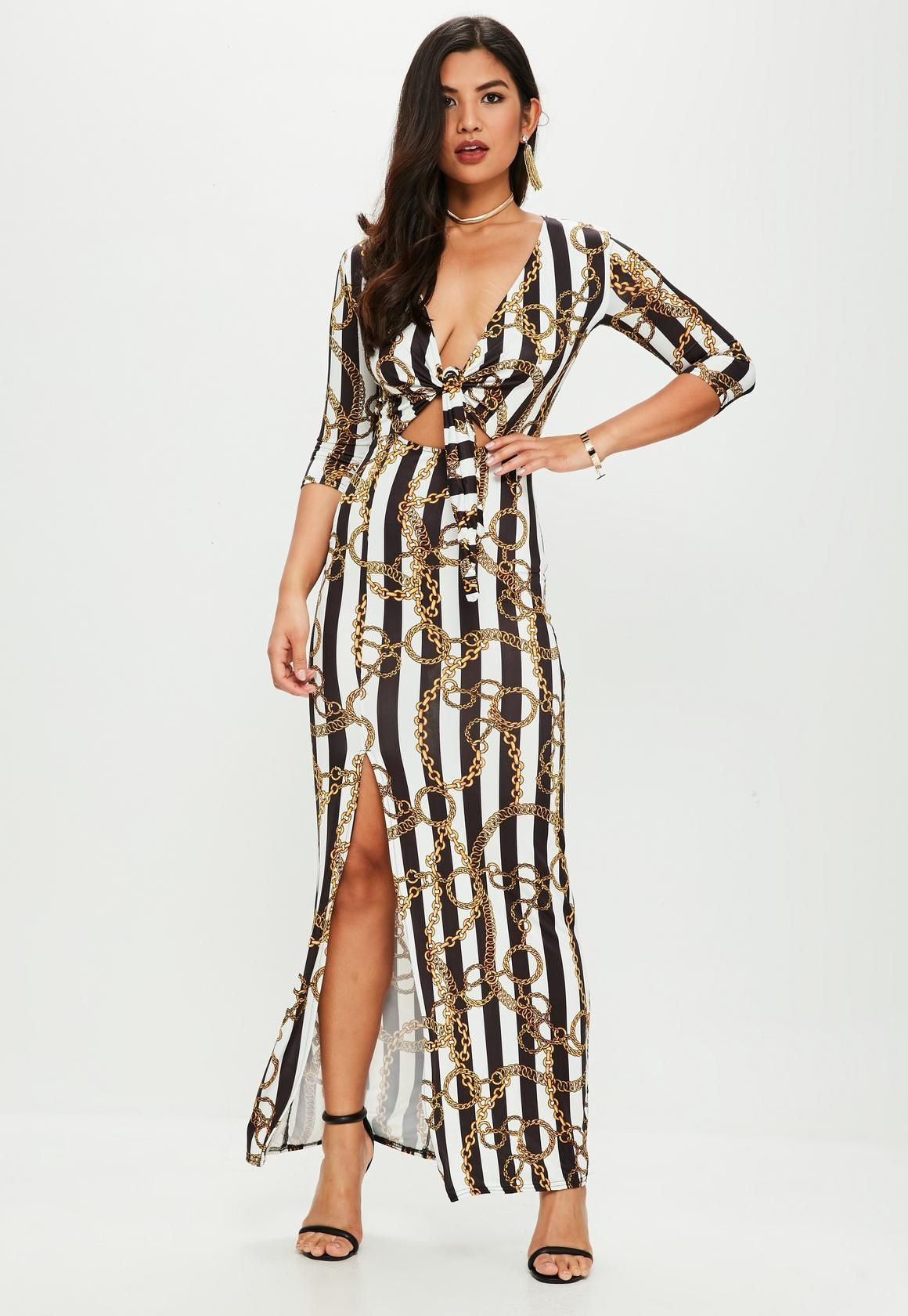 3ba30086fbc1d Missguided - White Chain Print Slinky Tie Front Maxi Dress
