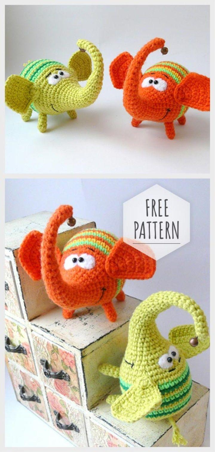 Little Rainbow Elephant Free Pattern #crochetelephantpattern