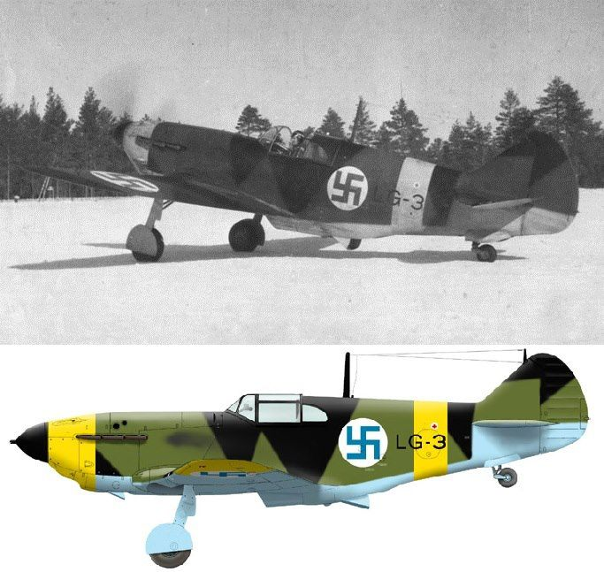 This LaGG-3 made a forced landing near Ala-Sedoksa on 14 September 1942 and was recovered by Finns. The aircraft became LG-3 in Finnish service, and was assigned to LeLv 32 during winter 1942/43. This unit was based based at Nurmoila, on the Olonets isthmus. LG-3 followed other two aircrafts, LG-1 and LG-2; all these were intended to intercept the fast Pe-2s bombers often penetrating the Finnish air space. These missions were usually conducted by one LaGG only