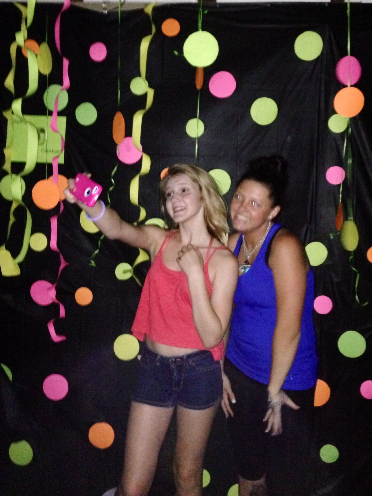 Awesome selfie center. Black light party. Glow party. Neon party. Ila's13th glow party!! Photo booth DIY