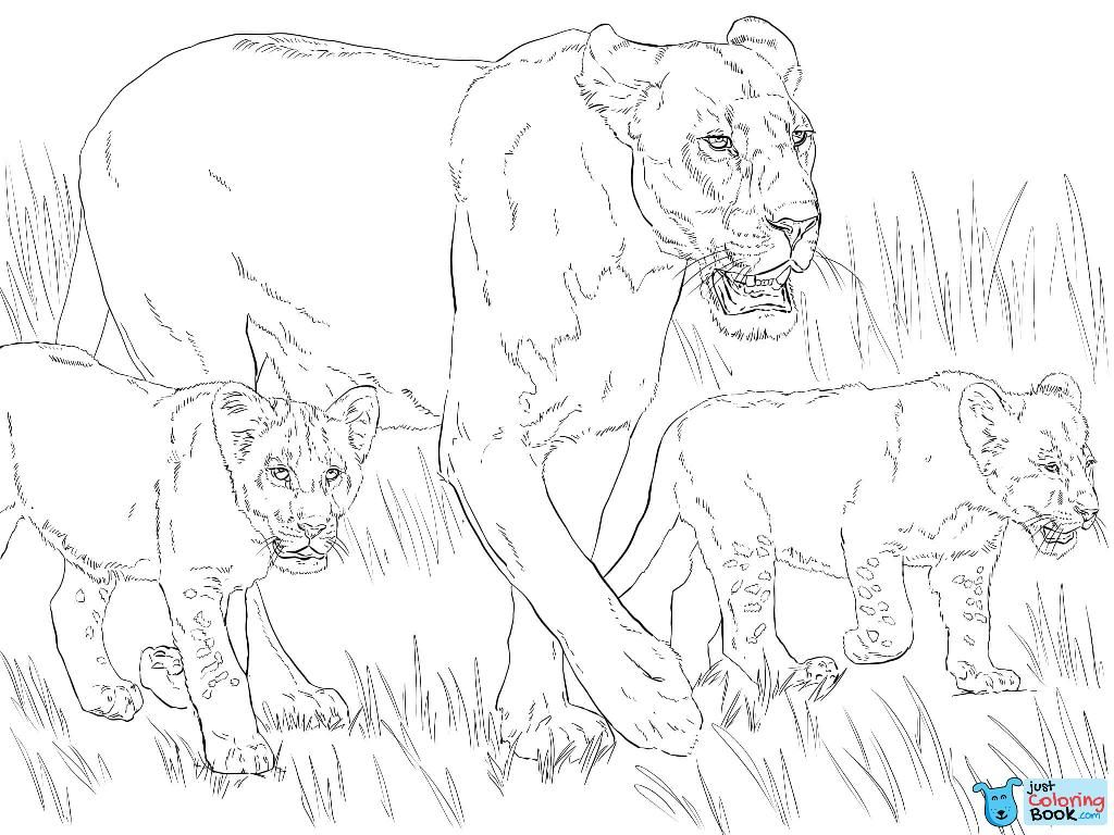 Lioness With Cubs Coloring Page Free Printable Coloring Pages Intended For Lion And Lioness Coloring Pages Raskraski Raskraski Dlya Pechati Besplatnye Raskraski
