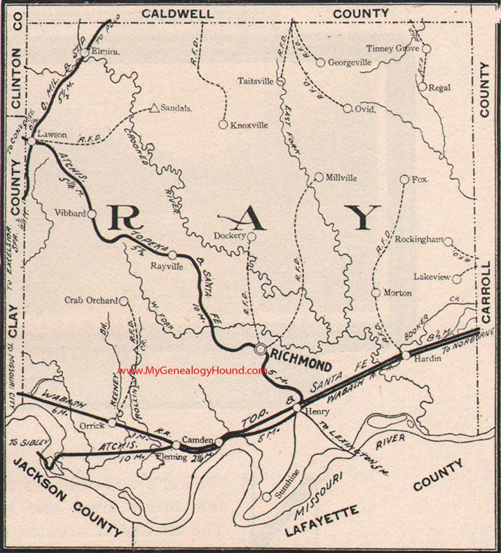 Ray County Missouri Map 1904 Richmond Orrick Hardin Camden