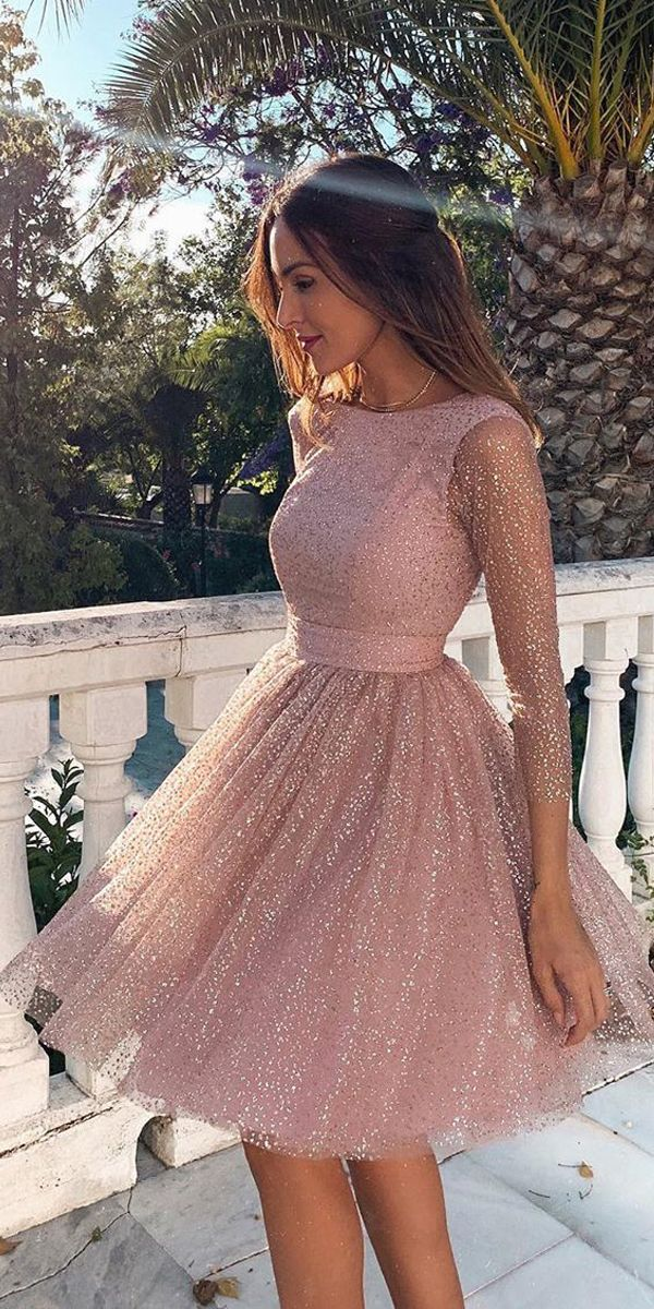 [$154.99]3/4 Sleeves Short Prom Dress Pink Homecoming Dress with Open Back PD330