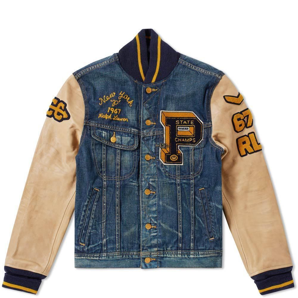 6c524397f14 Preppy styling takes cues from retro Varsity jackets with this denim jacket  from American outfitters Polo Ralph Lauren. The winter ready jacket is  decorated ...