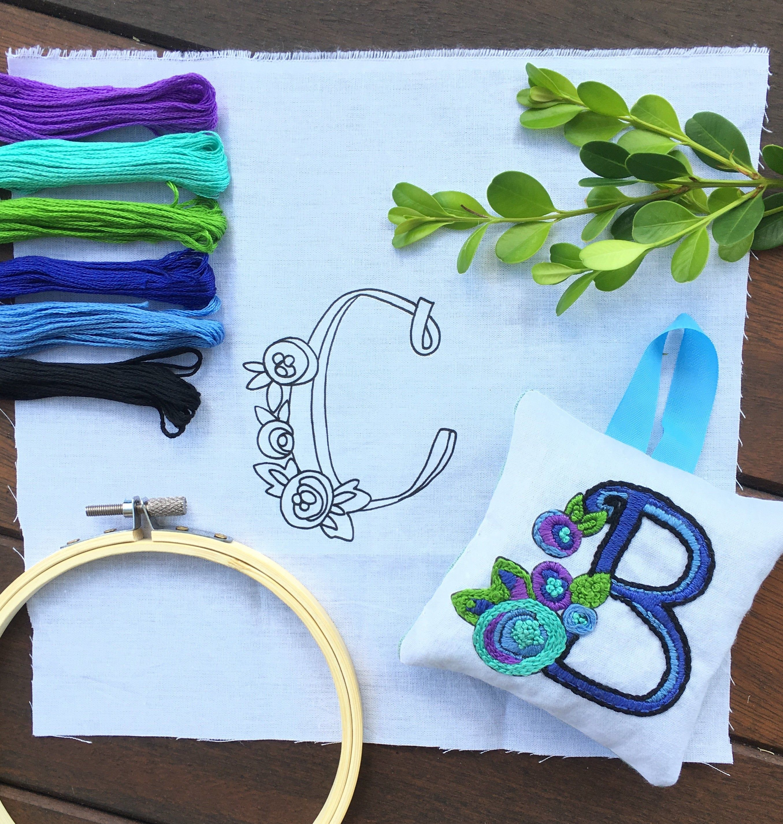 Embroidery Kit Monogram, DIY Sachet Embroidery Kit, Monogram Embroidery Kit for Beginners #colorpalettecopies