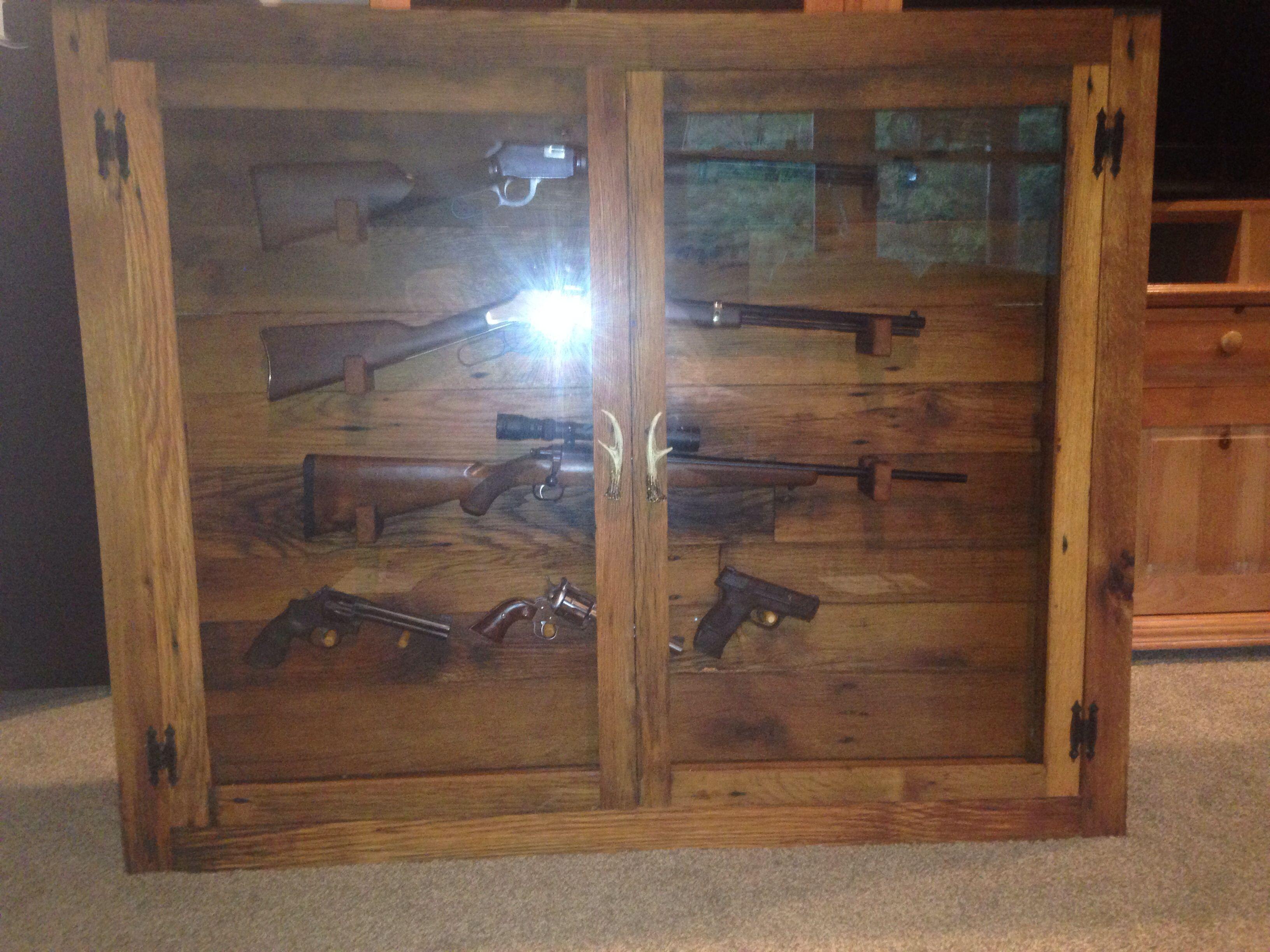 Amazing Homemade Hanging Barn Wood Hanging Gun Cabinet