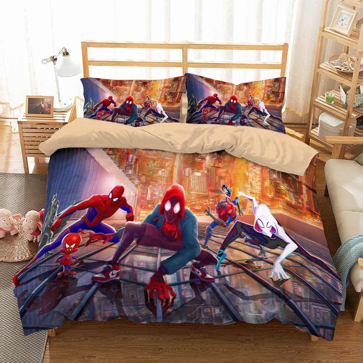 3d Customize Spider Man Into The Spider Verse Bedding Set Duvet