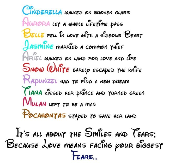 Disney Princess Fan Art: Disney Princess Love Quote
