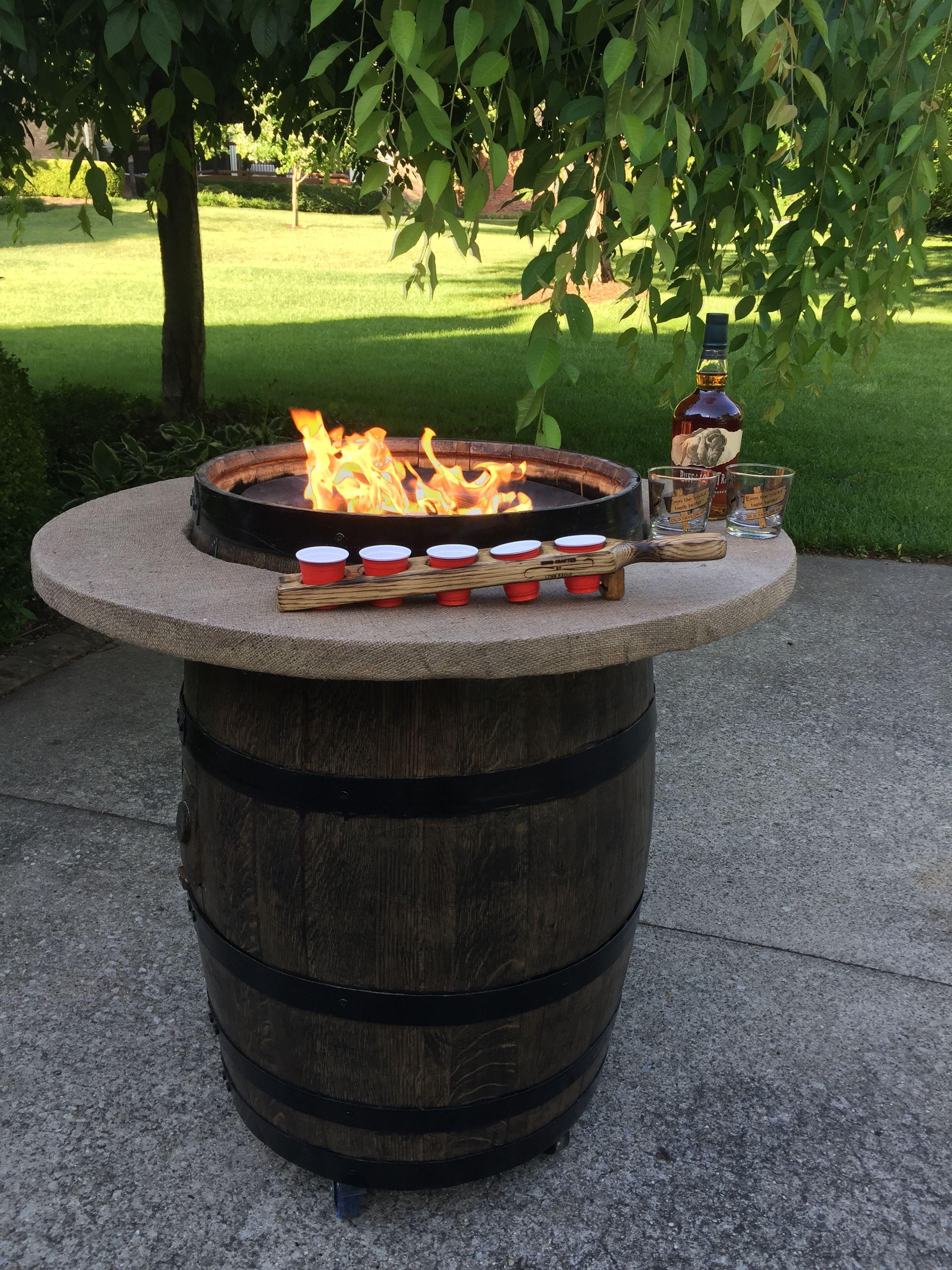 Bourbon barrel propane fire pit whiskey barrel whiskey