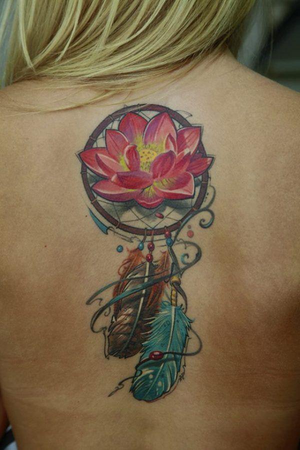 Llamador De ángeles Combinado Con Flor De Loto Tatuajes Con Flores