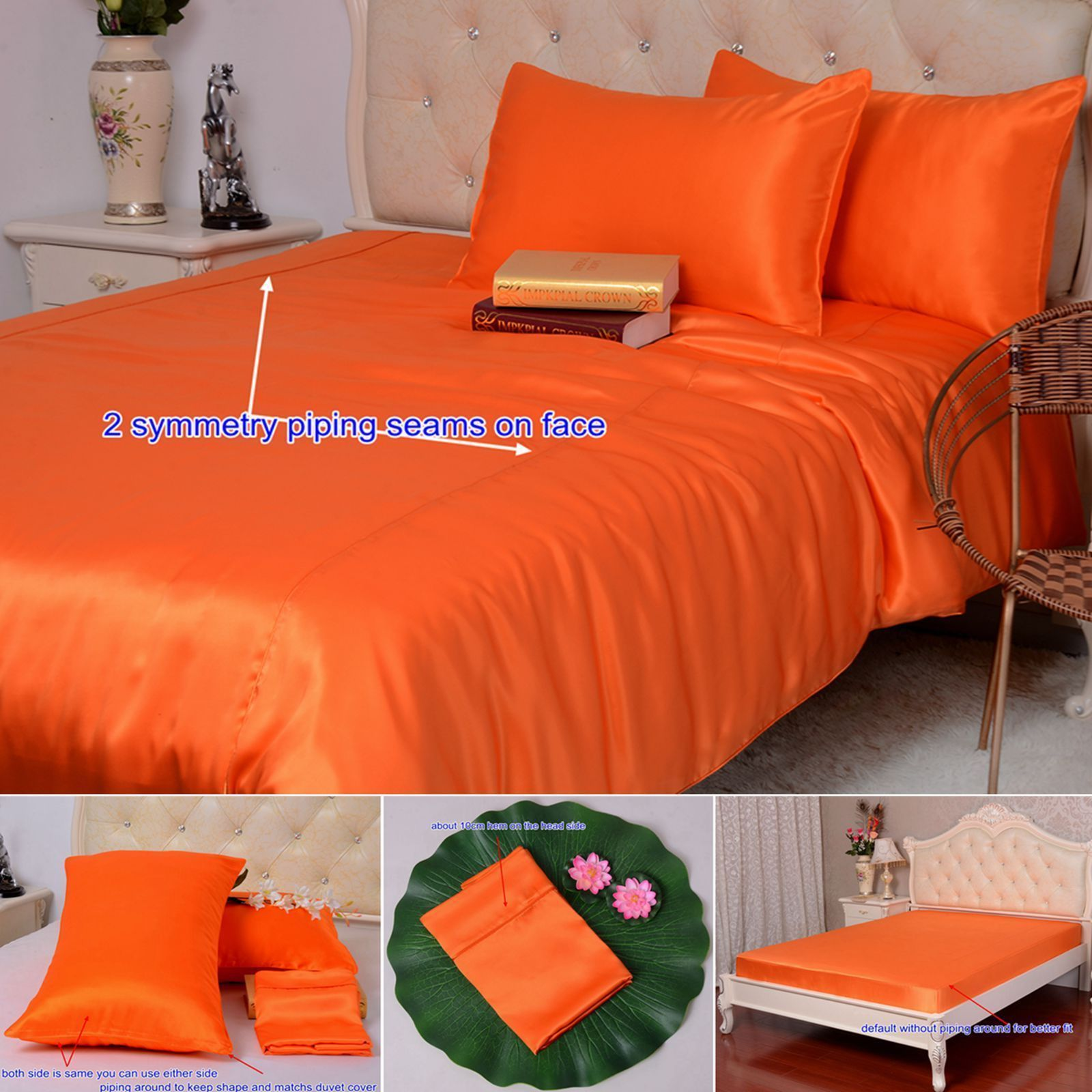 16 Momme 100 Pure Silk Duvet Quilt Cover Sheets Pillow Cases Seamed Orange