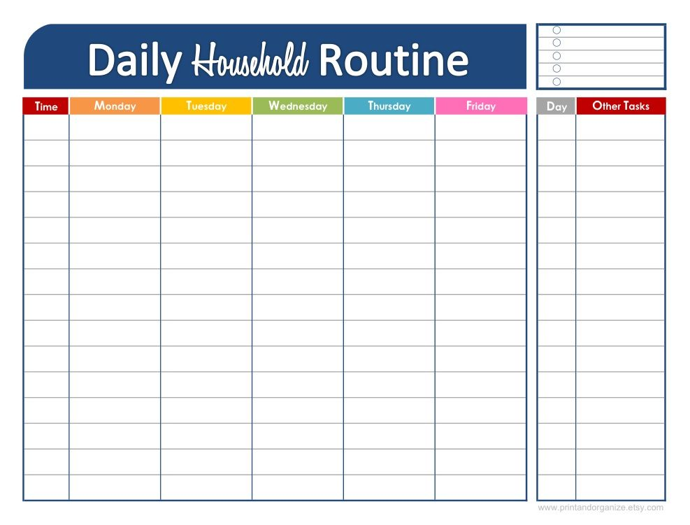 Weekly Routine Calendar : Printable daily schedule for kids click here to download