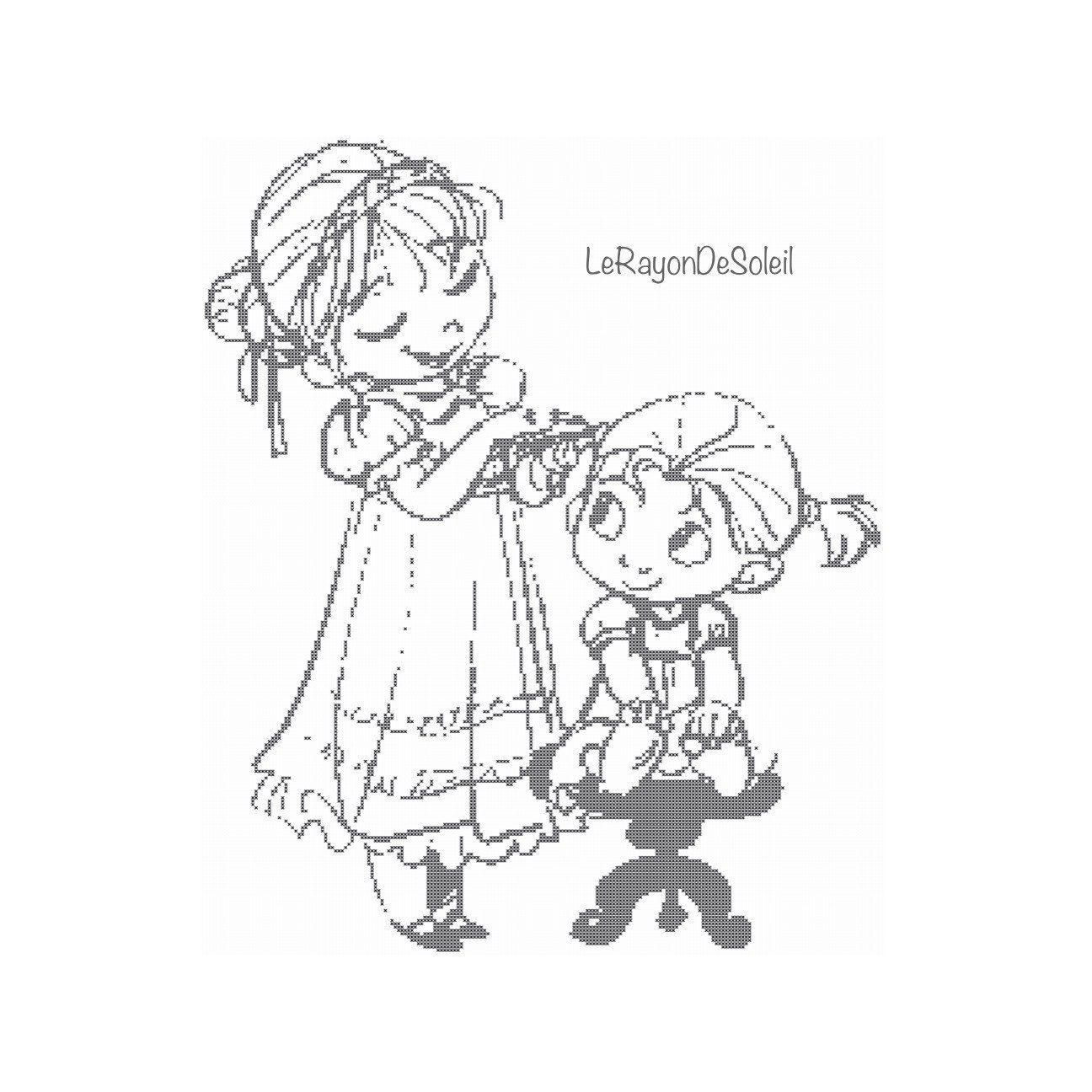 Cross stitch pattern Anna and Elsa sisters door LeRayonDeSoleil