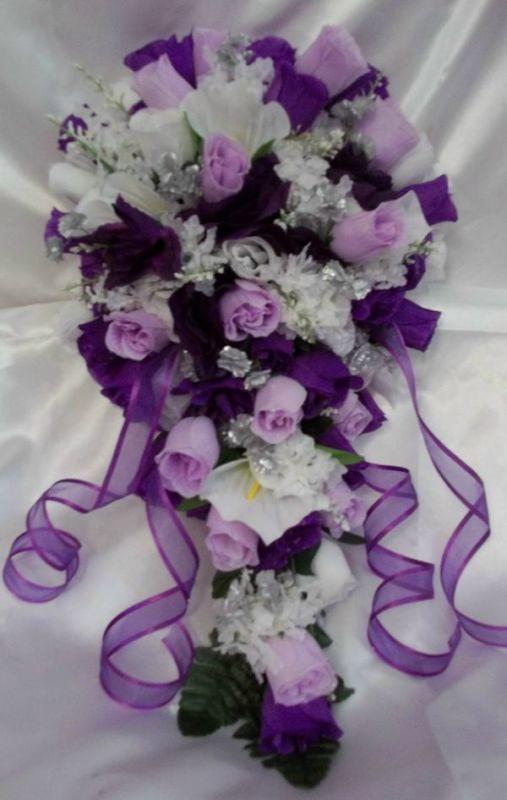 PURPLE LAVENDER WHITE AND SILVER WEDDING BRIDAL BOUQUET SET