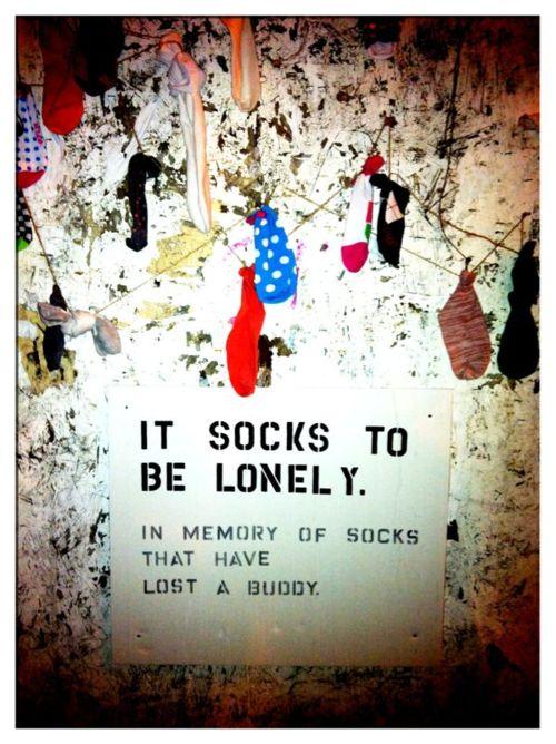 Lonely socks initiative in Brooklyn