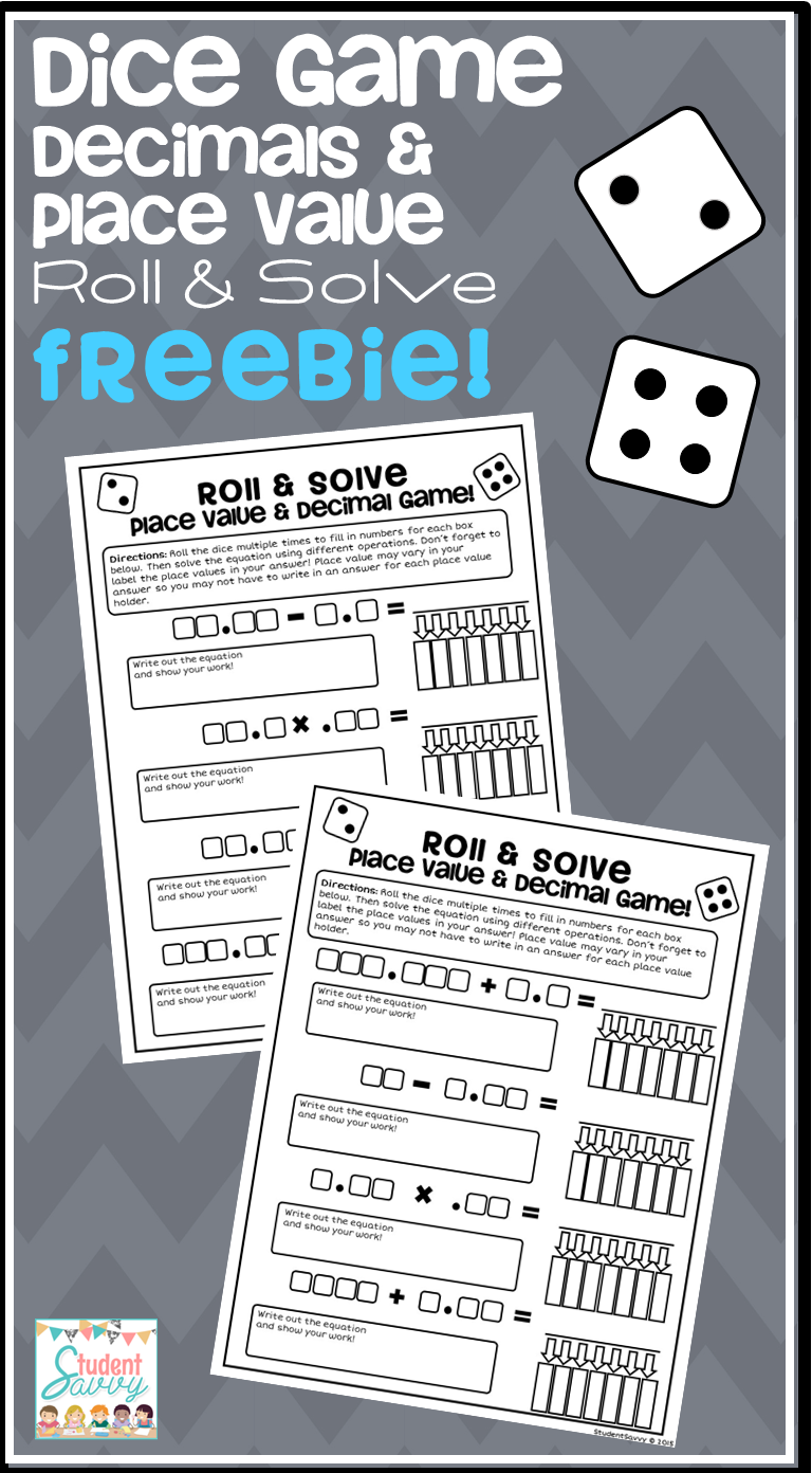 free teaching resource dice game decimals place value roll solve teaching freebies. Black Bedroom Furniture Sets. Home Design Ideas