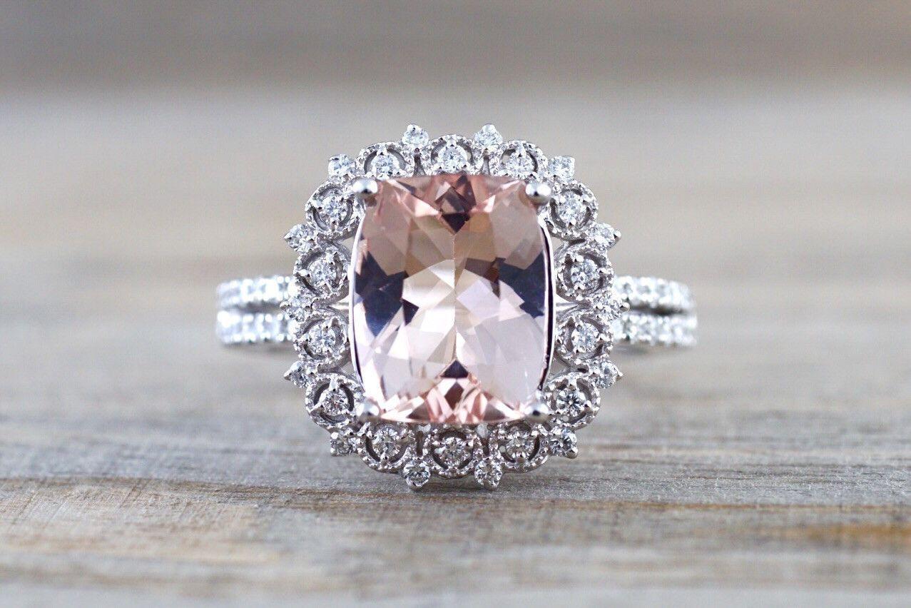 3e19f83d29b60 18k White Gold Elongated Cushion Cut Morganite Diamond Halo ...