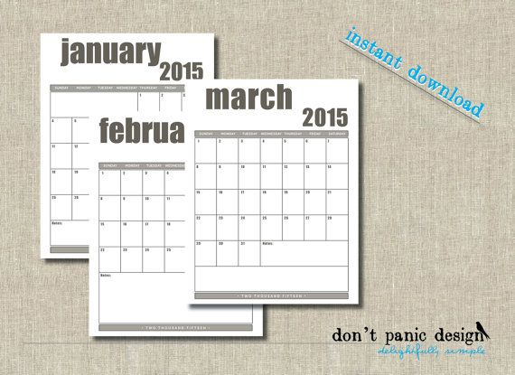 Bold diy printable 2015 monthly calendar grids Portrait orientation - blank memo template
