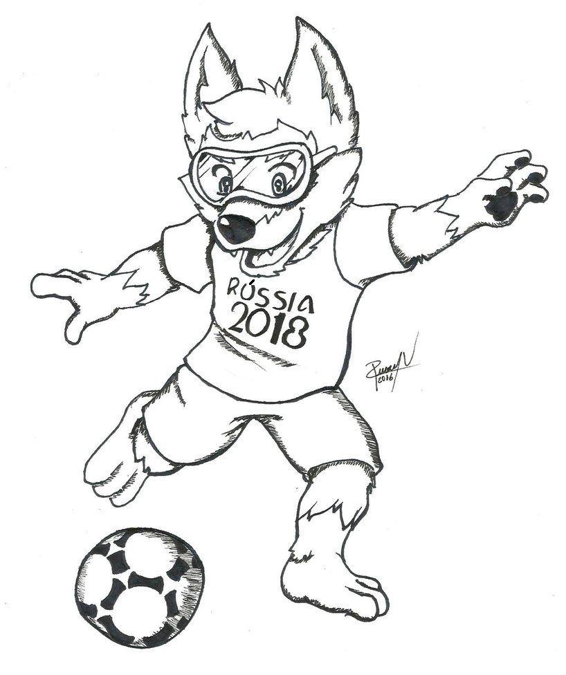 Mascote Da Copa Do Mundo De 2018 Para Colorir Jpg 818 976 Pixel