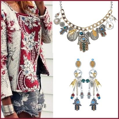 More bohemian chic at the BijouxStore. This cute necklace with matchy earrings. For more inspiration, look at www.bijouxstore.nl #boho #bohemian #bijouxstore