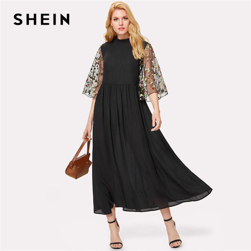 Loose Black Dress with Mesh Sleeves