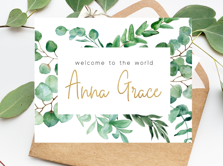 Custom to the world baby name card custom card