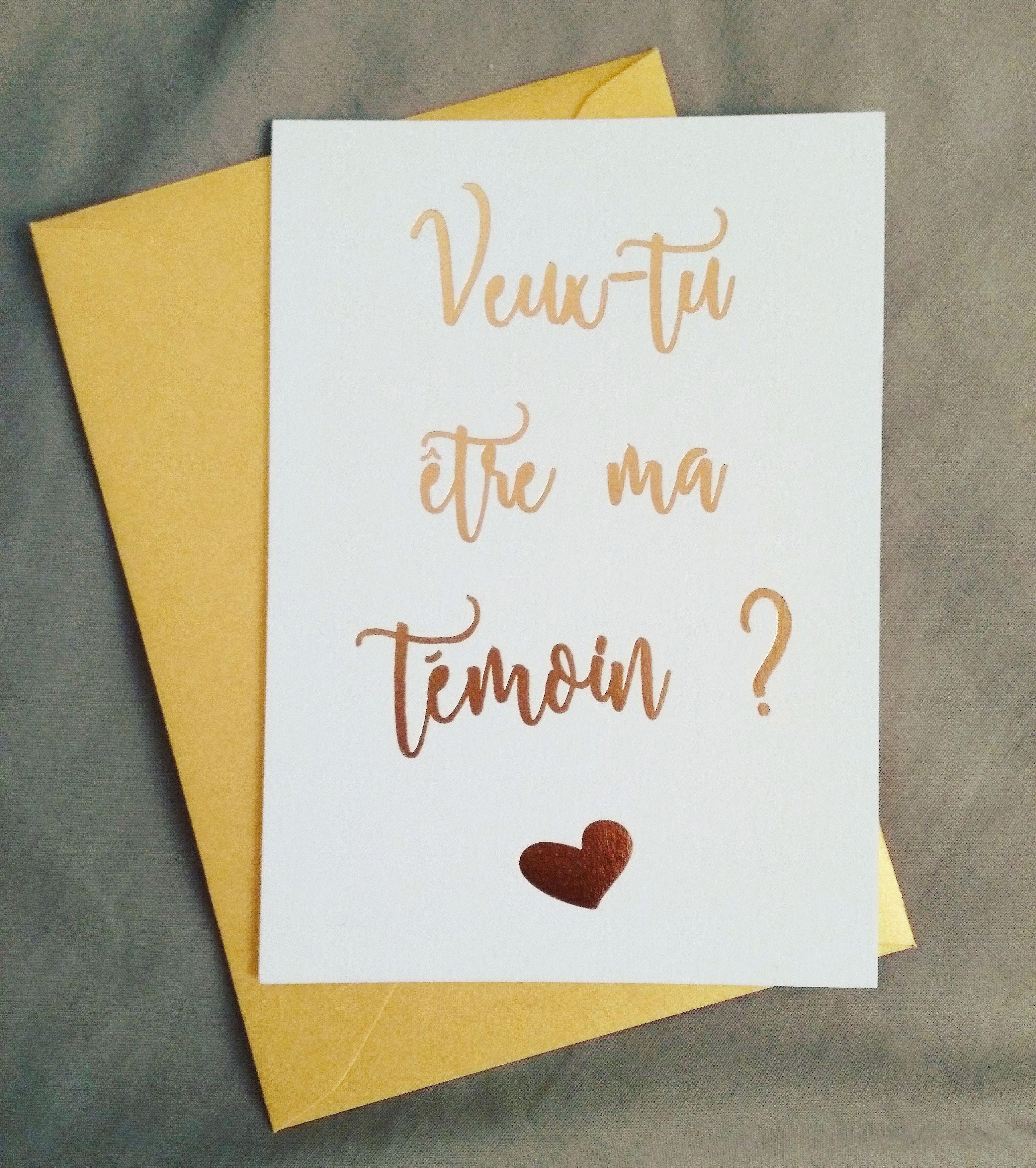 Annonce Témoin Mariage à une carte de demande en témoin avec votre mot doux, le tout dans un