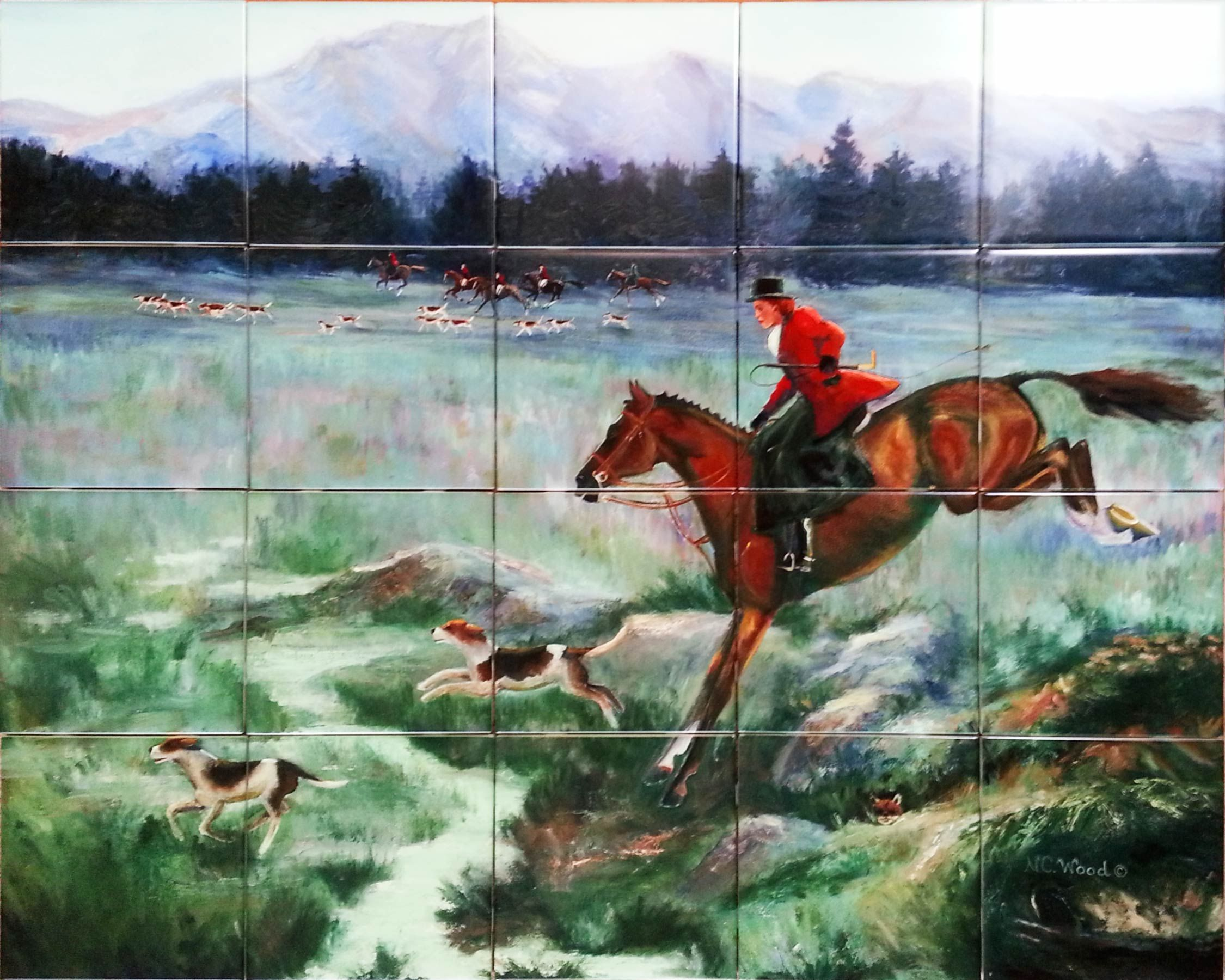 Custom tile mural painting of a fox hunt reproduced on custom custom tile mural painting of a fox hunt reproduced on custom printed ceramic tile dailygadgetfo Gallery
