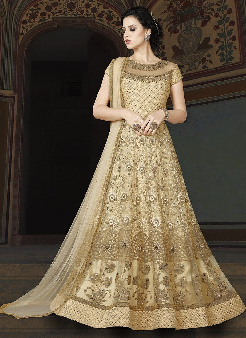 c70af56123 Cream and Gold Embroidered Net Anarkali Suit Bridal Anarkali Suits,  Churidar Suits, Pakistani Wedding