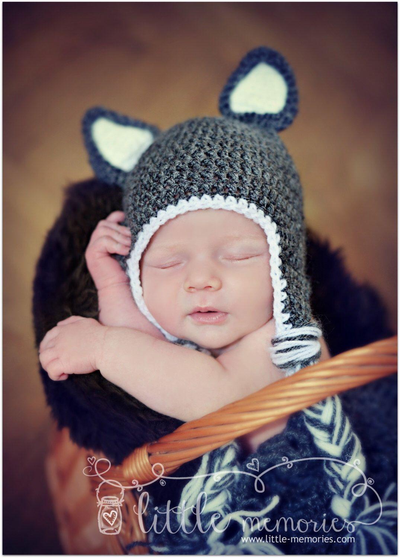 98cc5a1dc00 Crochet Wolf Beanie  Hat Newborn Baby  Wolf