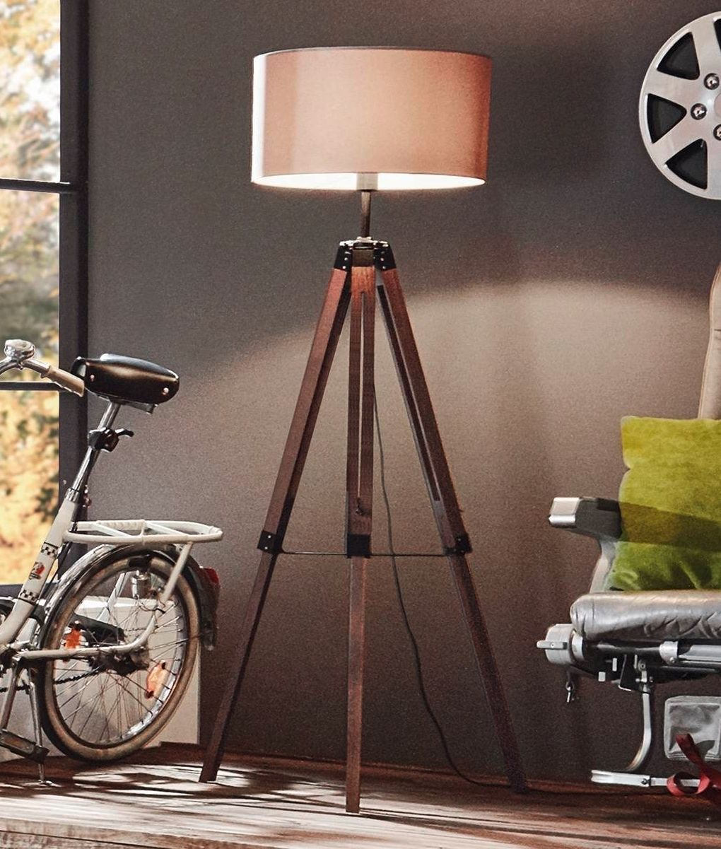Wooden Tripod Floor Lamp With Large Shade Two Finishes Floor  # Muebles Lantada