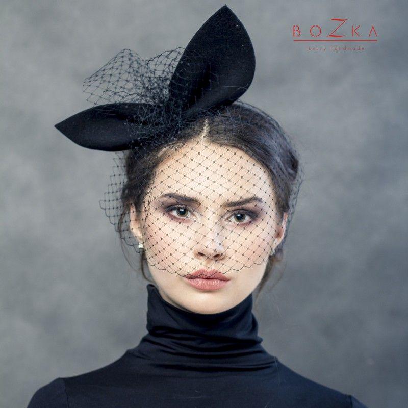 Giant, black ears bow with veil on a headband